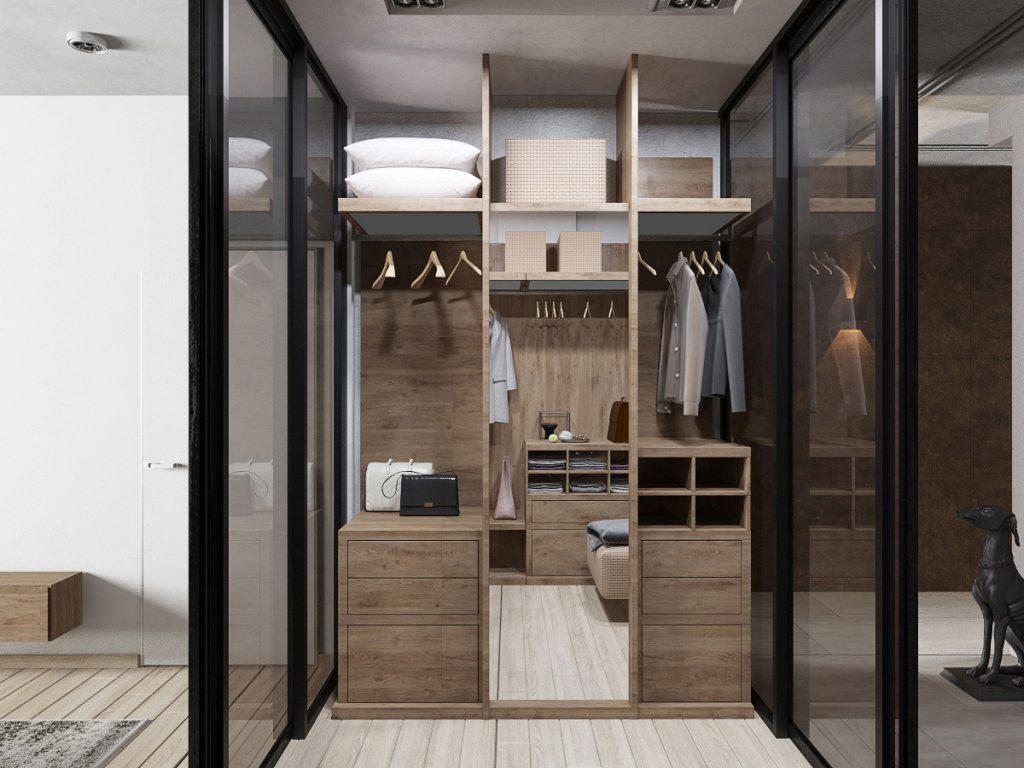 Проходная гардеробная с раздвижными дверями