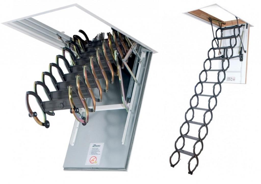 Чердачная раскладная лестница с пружинным механизмом