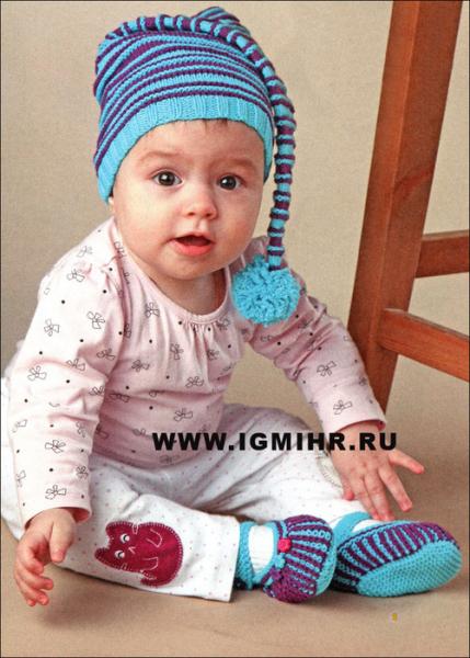 Шапка-колпак спицами для новорожденных со схемами и фото