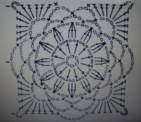 квадратные мотивы для вязания крючкомсхемы