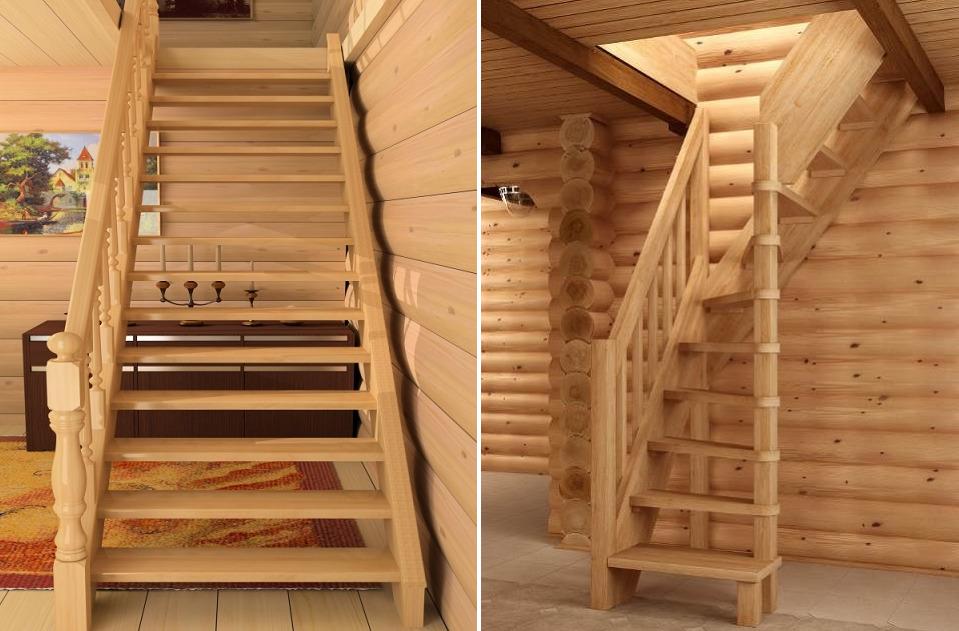 Стационарные лестницы на чердак из дерева