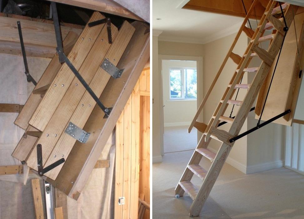 Складные чердачные лестницы из дерева