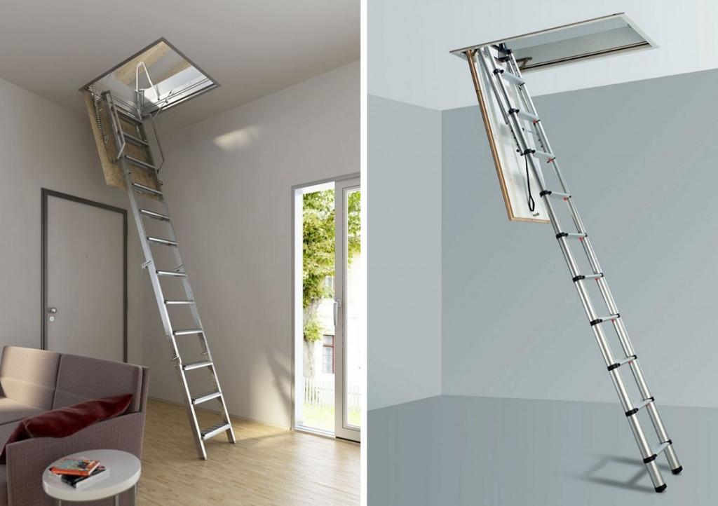 Металлические складные лестницы на чердак