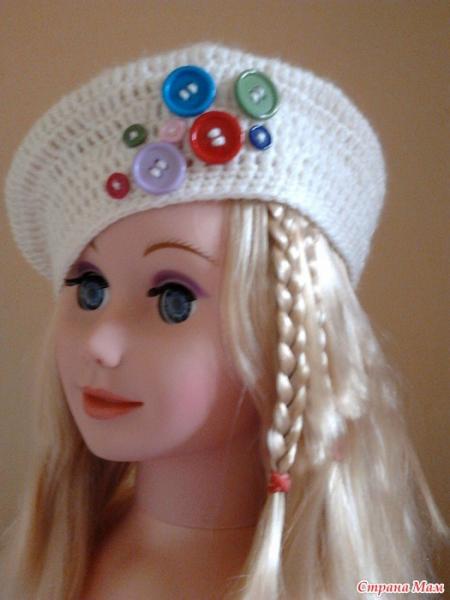 Берет для куклы крючком: выкройка со схемой и описанием