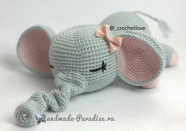 вязание крючком игрушки слоника сплюшки