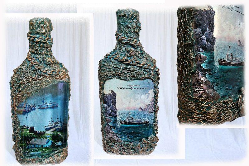 Оформление бутылки своими руками тканью и нитками на День рождения
