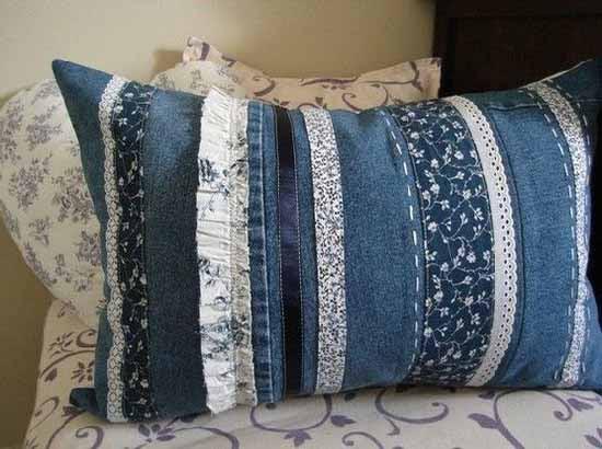 Подушки из старых джинсов: от простых до оригинальных