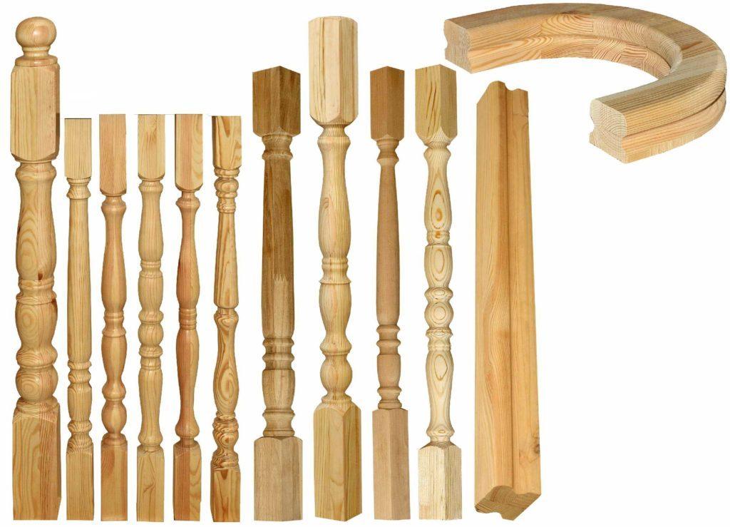 Балясины и перила из дерева для винтовой лестницы