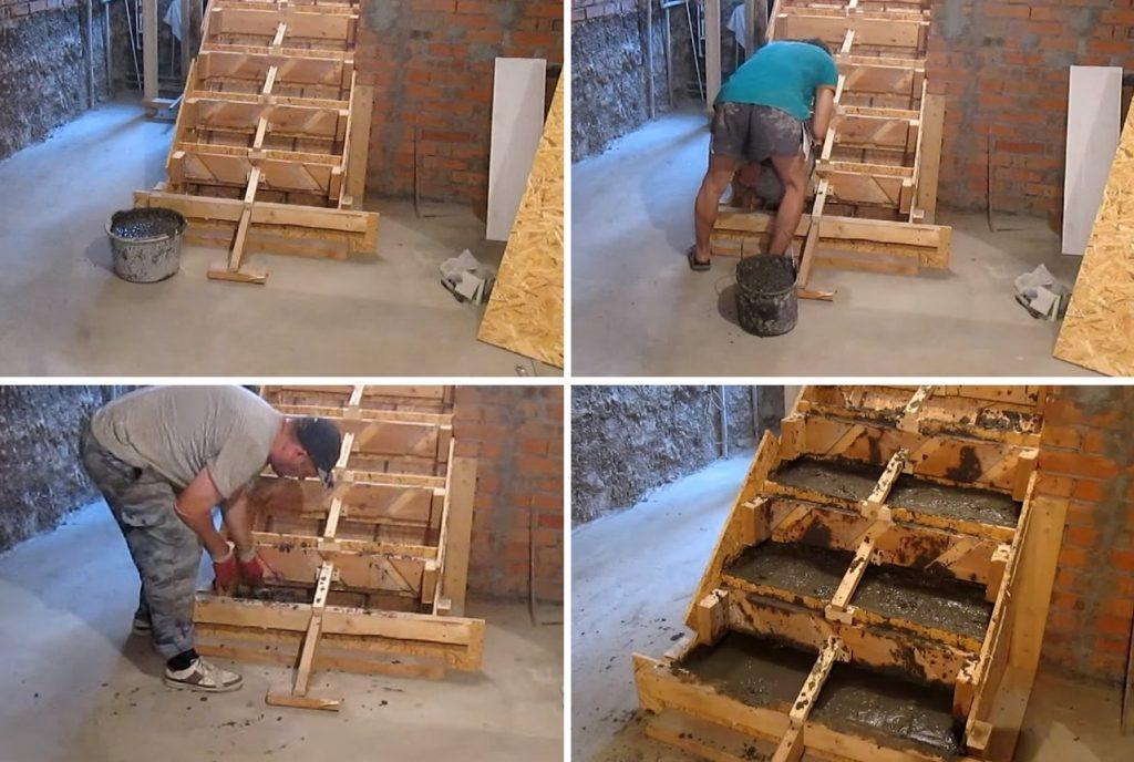 Заливка бетонной лестницы
