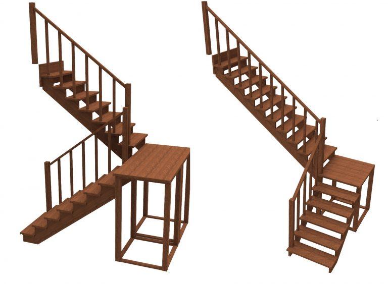 Лестницы с промежуточной площадкой