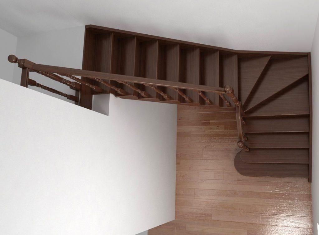 Угловая лестница с забежными ступенями