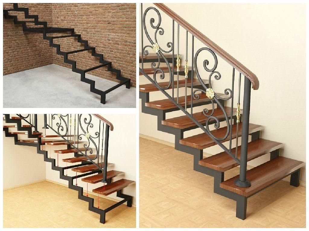 Лестница на металлическом каркасе с деревянными ступенями