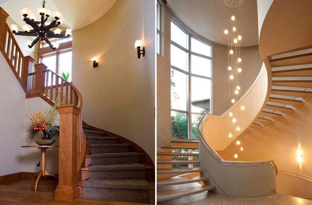 Освещение лестницы люстрой