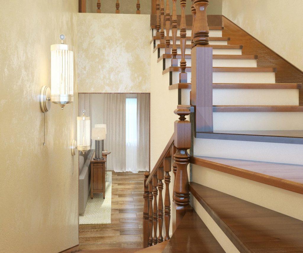 Прихожая с лестницей в нейтральном стиле