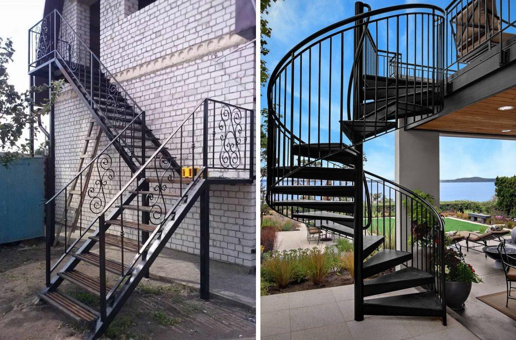 Маршевая и винтовая наружная лестница