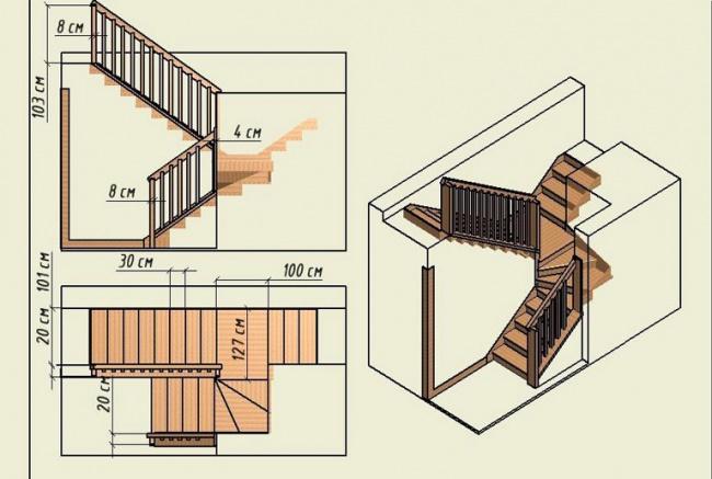 Чертеж трехмаршевой лестницы