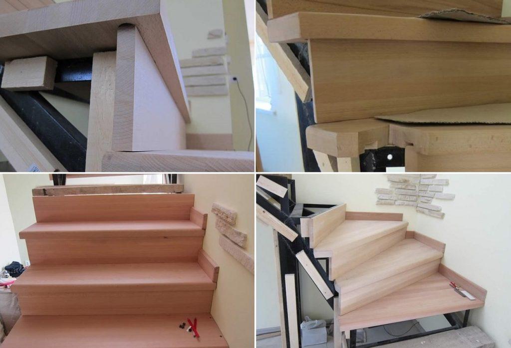 Как отделать металлическую лестницу деревом