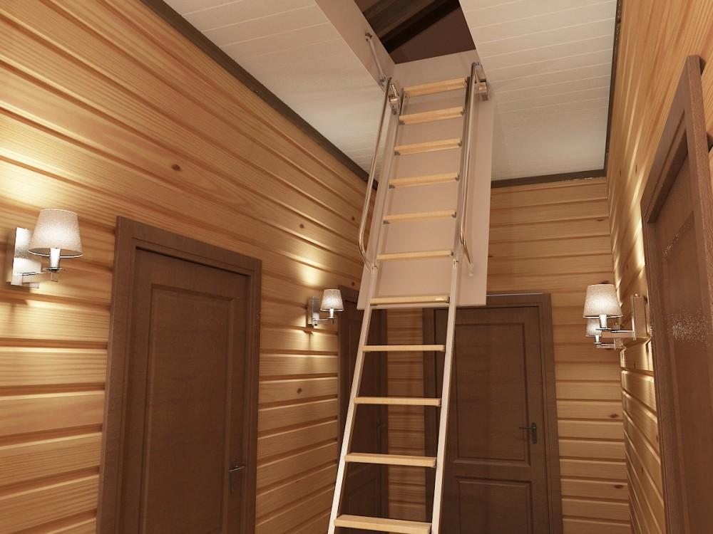 Складная лестница с люком на дачу