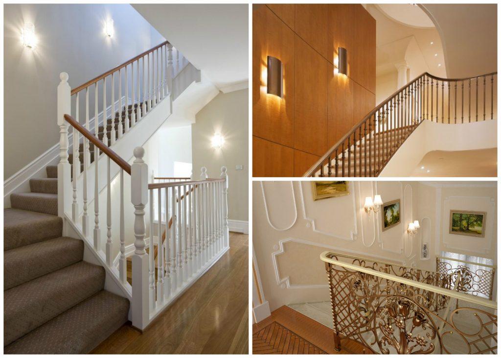 Освещение лестницы при помощи бра