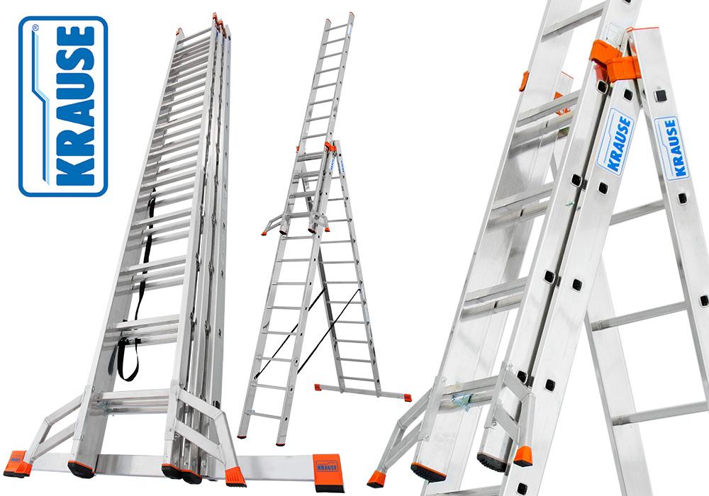 Трехсекционная лестница стремянка Krause