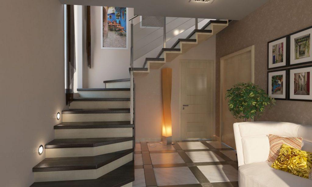 Дизайн маленькой прихожей с лестницей