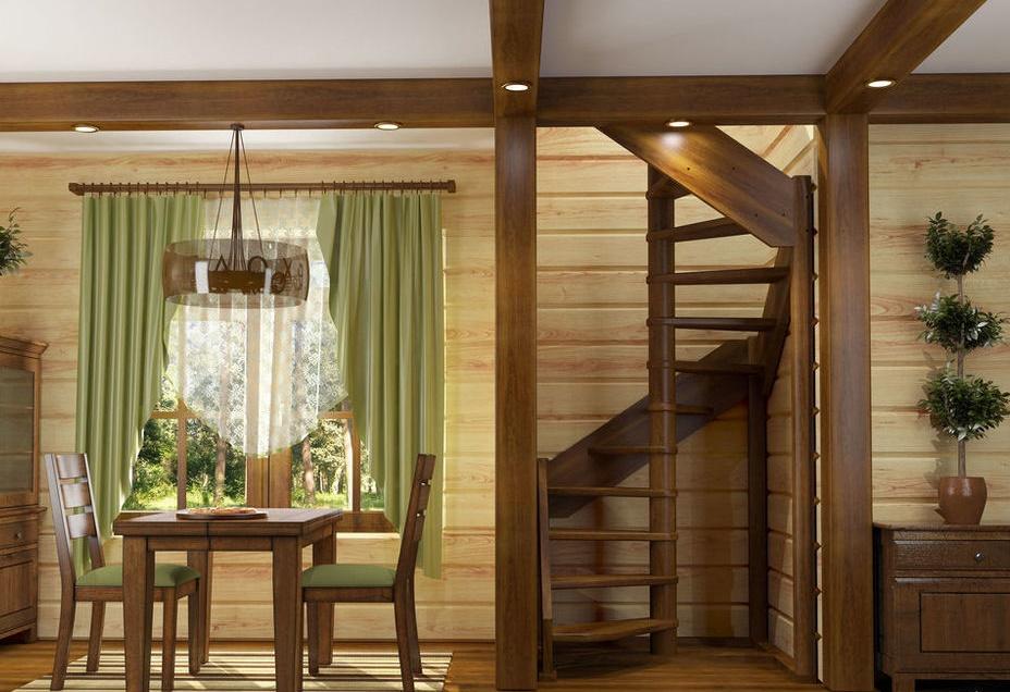 Винтовая лестница из дерева на дачу
