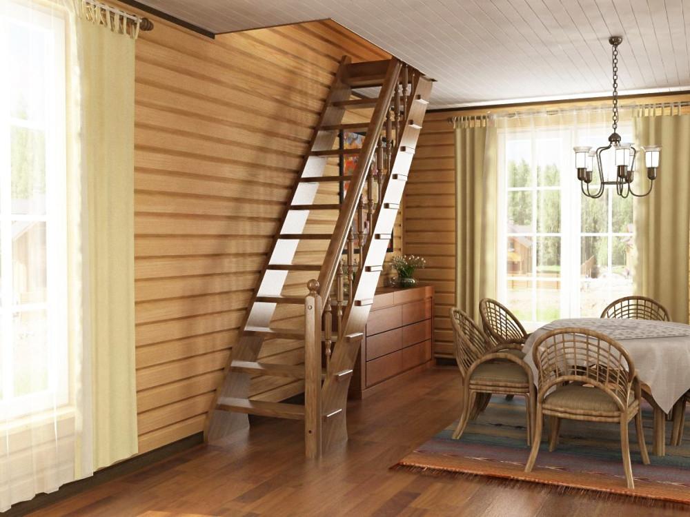 Прямая одномаршевая лестница на даче