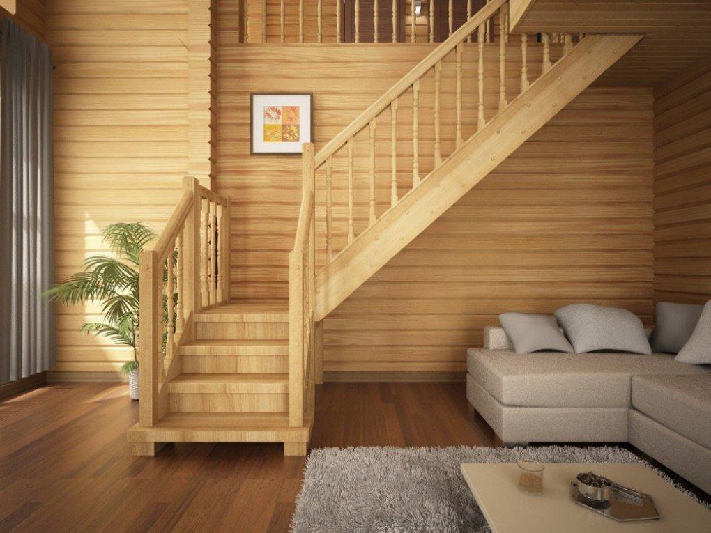 Деревянная лестница на второй этаж на даче