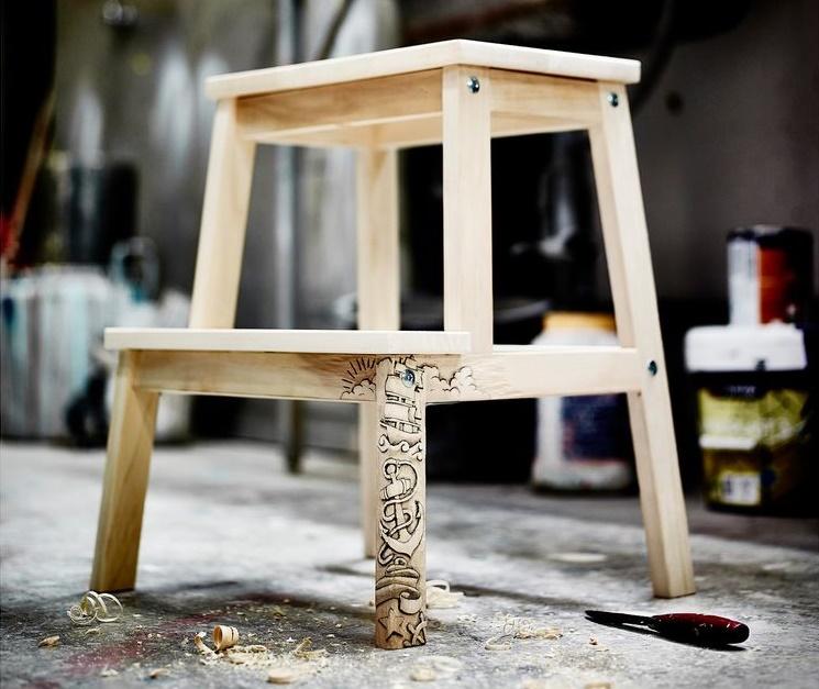 Табуретка-лестница из дерева