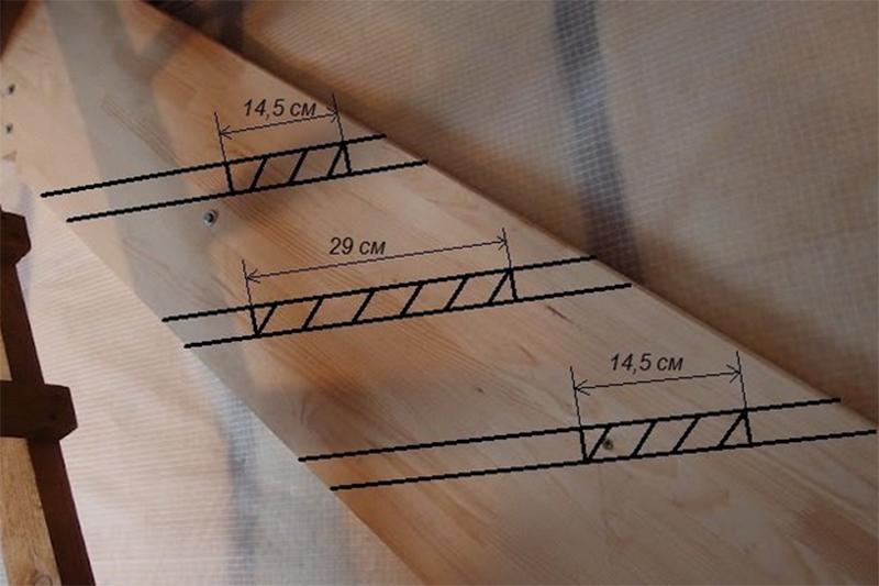 Разметка тетивы для лестницы гусиный шаг