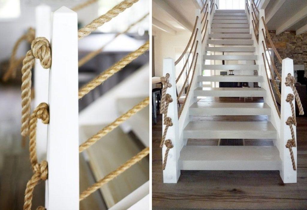 Лестница с перилами из каната