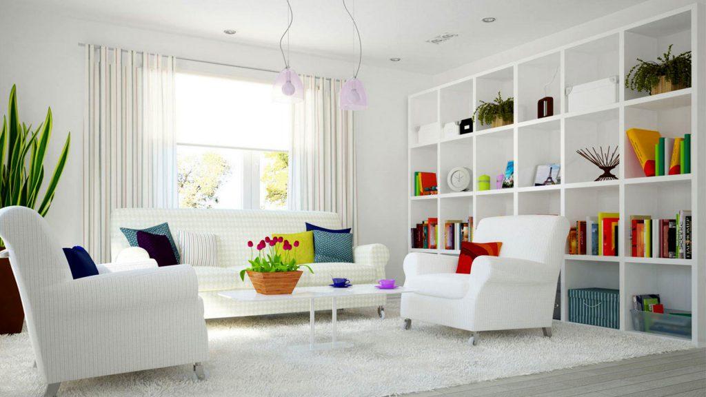 диван с цветными подушками