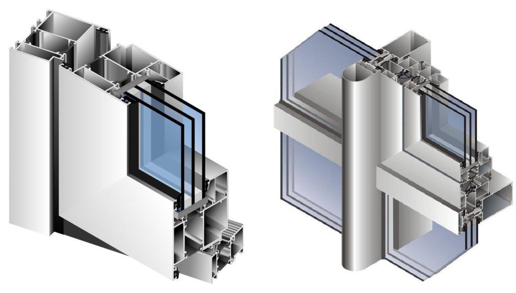 Конструкция створки алюминиевой двери