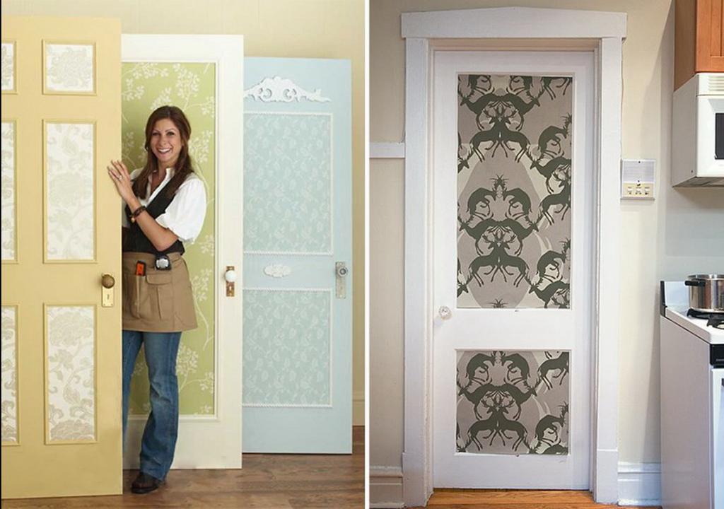Как обклеить старые двери обоями