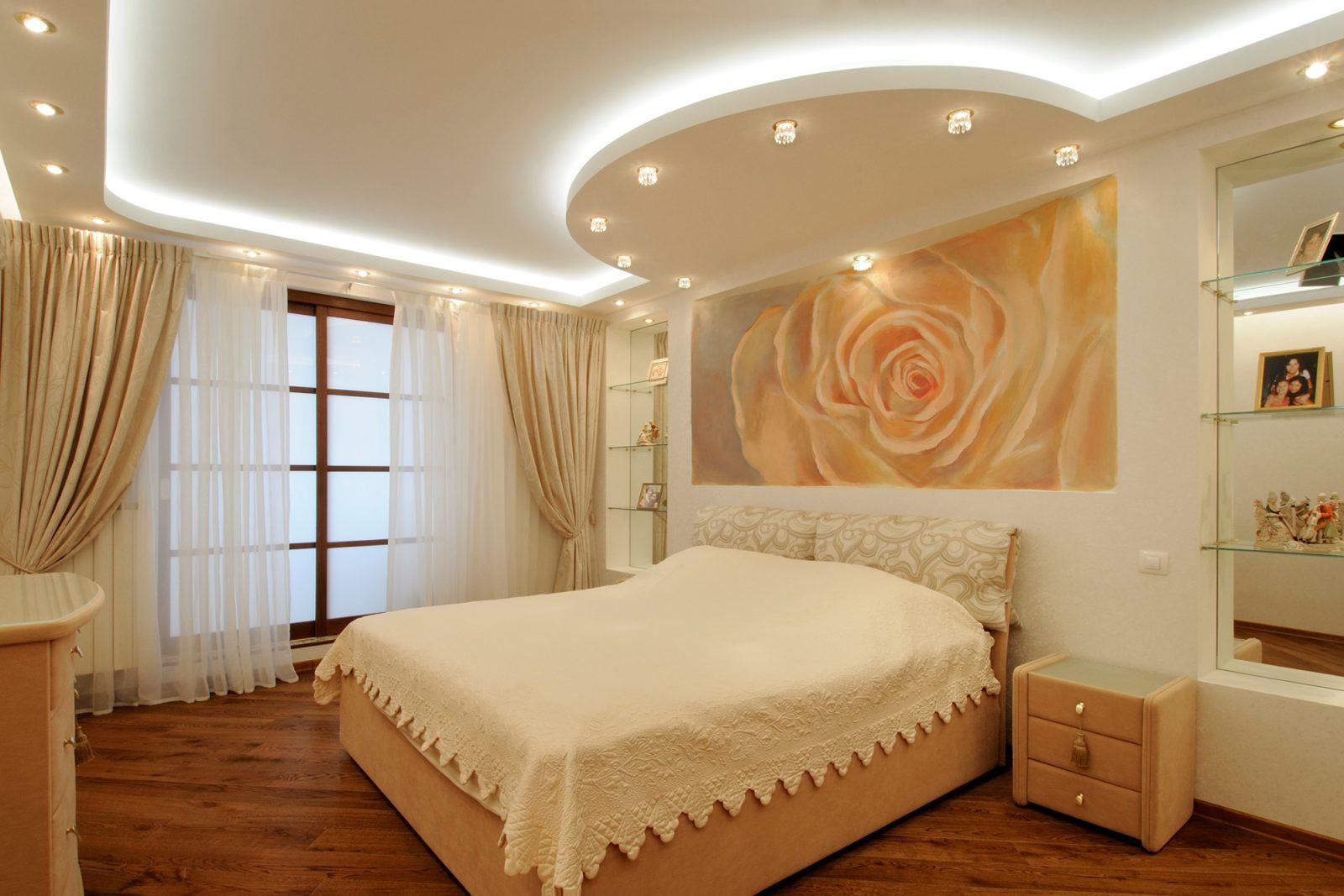 Интересные варианты исполнения потолков из гипсокартона: уровни и подсветка