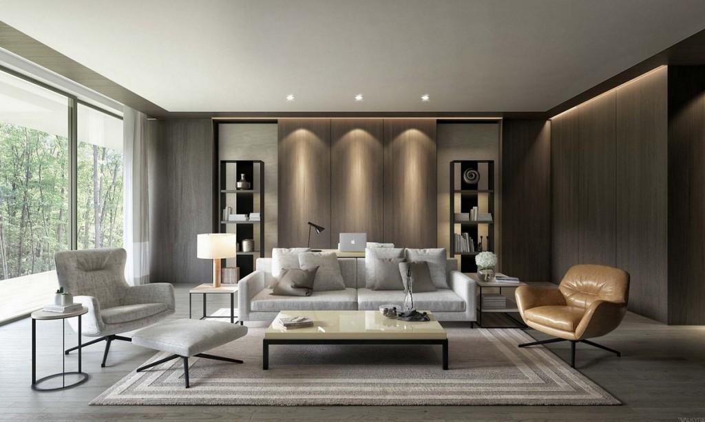 Световой дизайн стены над диваном