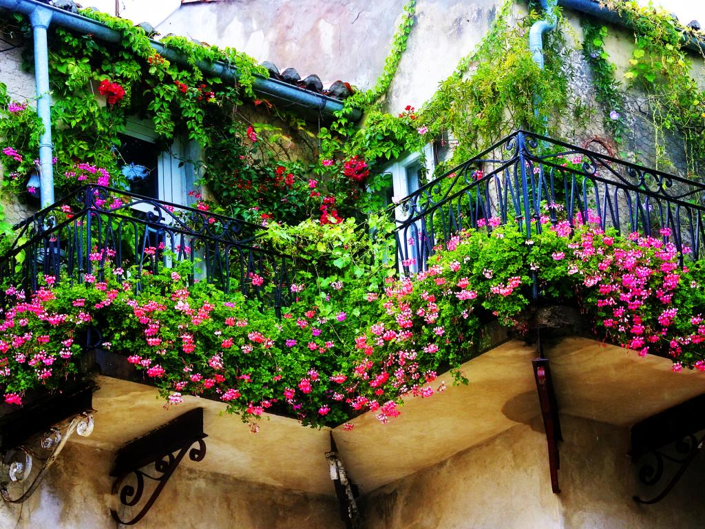 Балкон с роскошным дизайном цветами