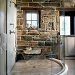 камень и дерево в интерьере ванной