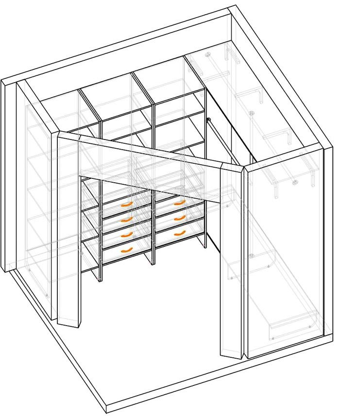 Угловая гардеробная схема