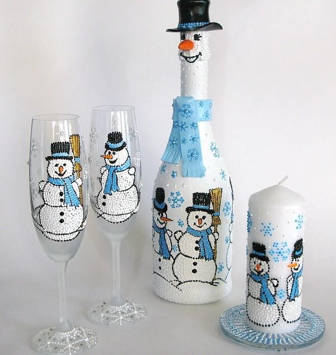 Декор бокалов к Новому году