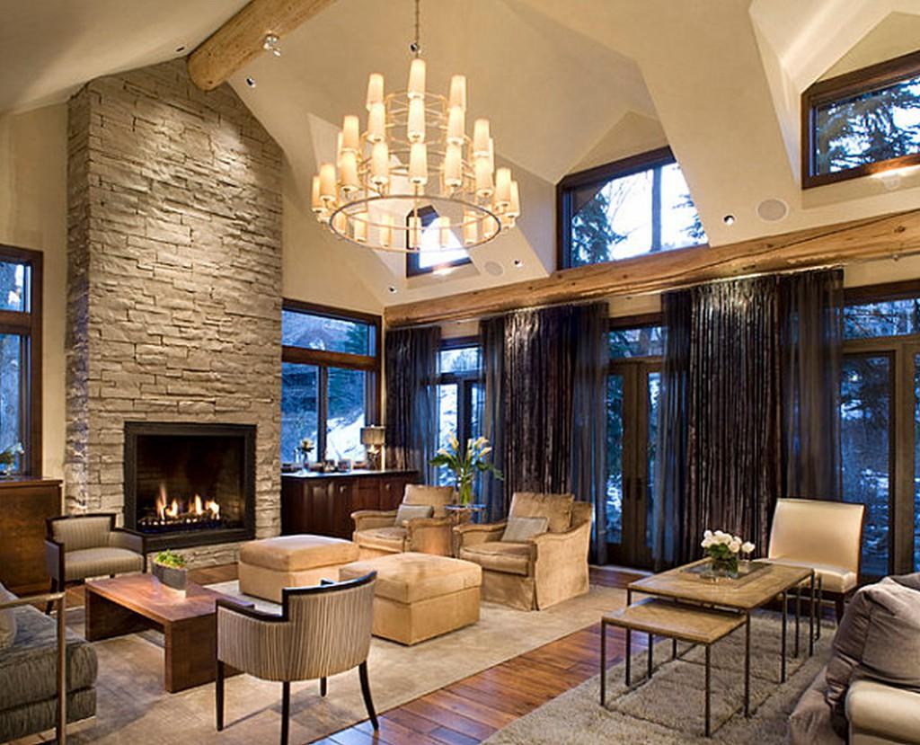 камень и дерево в интерьере гостиной