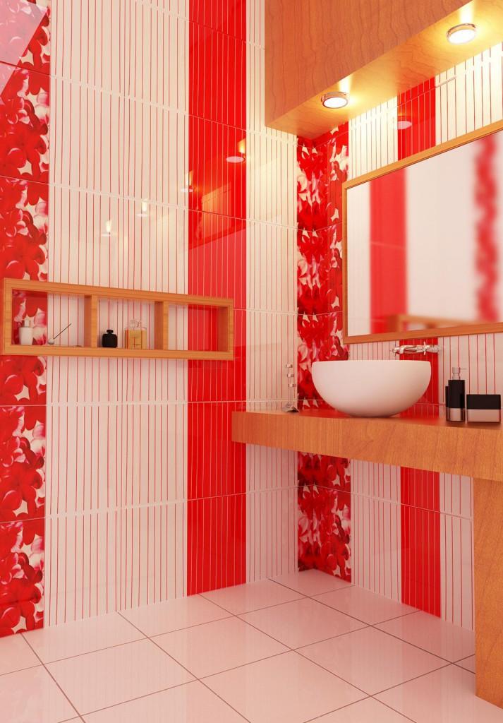 Дизайн вертикальной укладки плитки в ванной