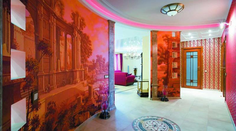 Современные фрески в интерьере квартиры.