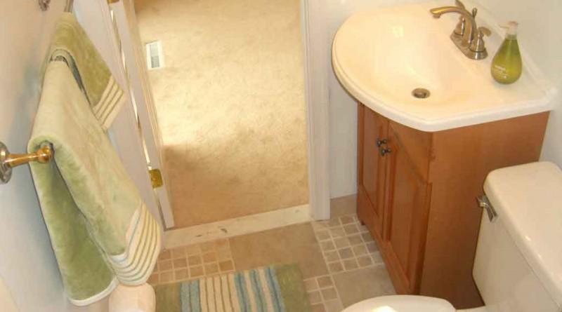 дизайн ванной маленького размера с дверью