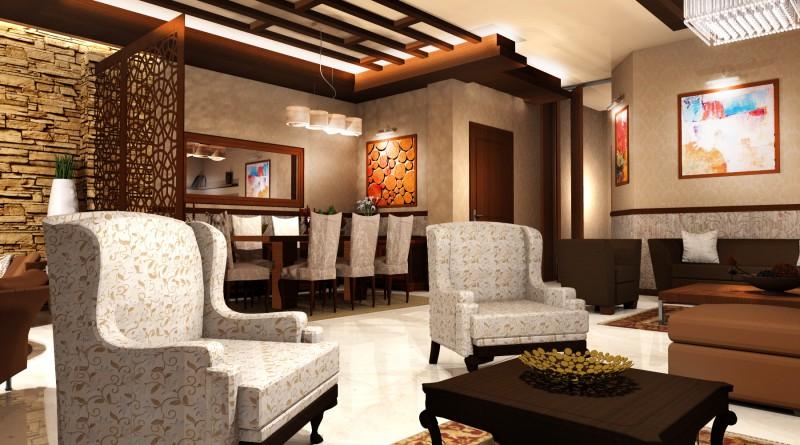 гостиная с отделкой камнем и деревом