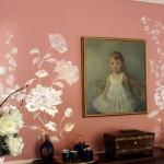 Фреска в современном интерьере спальни.