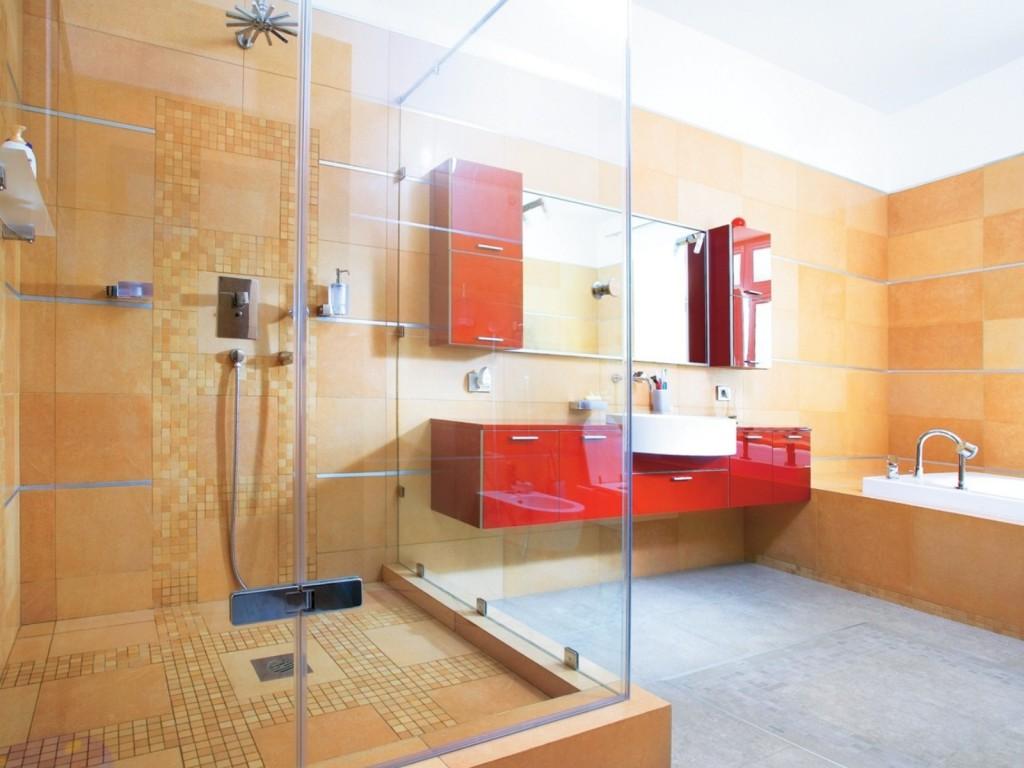 Дизайн ванной комнаты с меблировкой