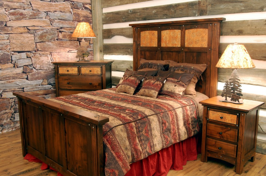 Интерьер спальни: отделка камнем и деревом