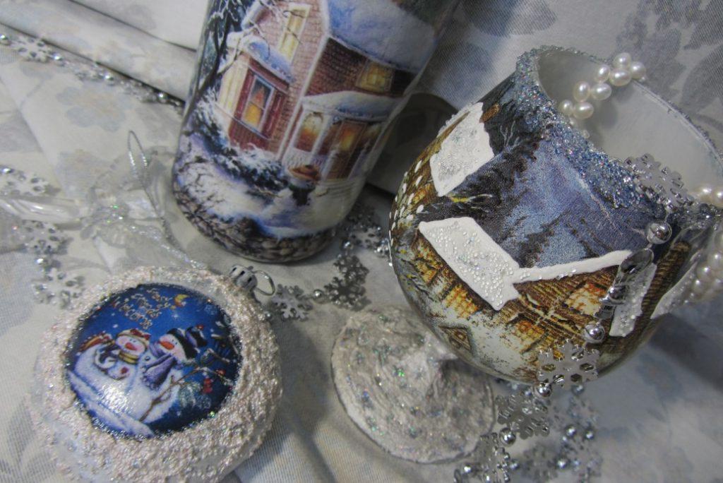 Декор посуды в технике декупаж к Новому году