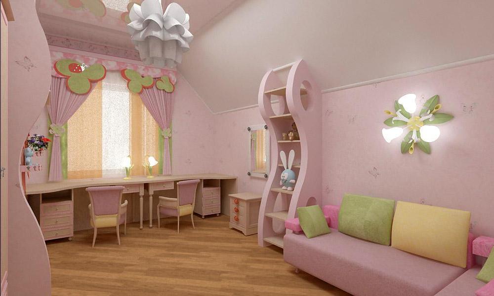 Розовая детская с желтыми и зелеными деталями
